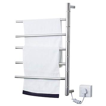 SQL 5 Barras Bañera Toallero Electrico,De Pie Pared Enchufar Eléctrico Secador De Toallas Baño Acero Inoxidable Percha para Toallas 45W Portátil Tendedero: ...