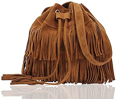 FXTXYMX Fringe Purse Suede Tassel Shoulder Bucket Bag Crossbody Bag Handbag for Woman and Teen Girls