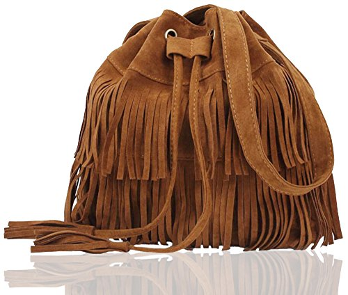FXTXYMX Fringe Purse Vintage Suede Tassel Shoulder Bucket Bag Crossbody Bag Handbag for Woman and Teen Girls (Orange - Suede Utility Bag