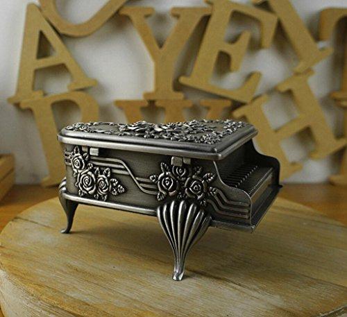 Unendlich U Retro schmuckkasten Klavier-Form und Rose Engraving mit Schmuckkästchen für Damen,Reines Zinn-Schmuckstück-Large -