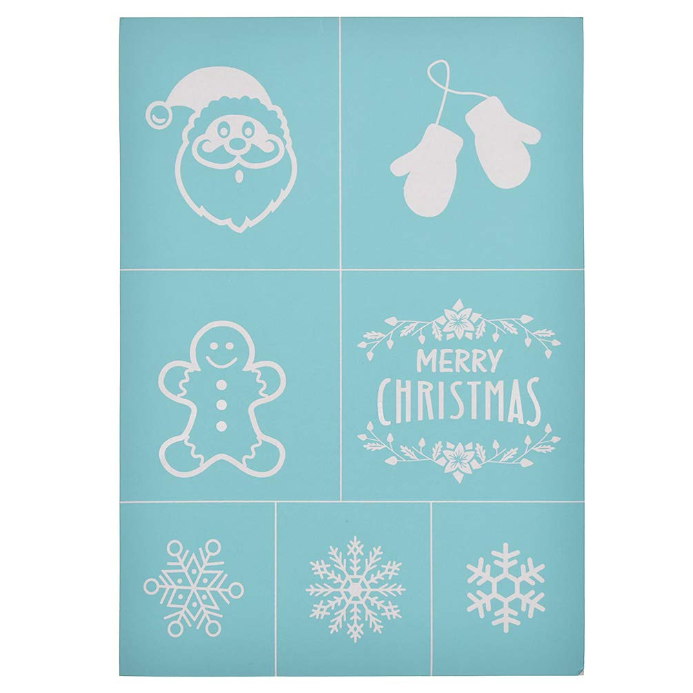 Style-08 YeulionCraft Self-Adhesive Silk Screen Printing Stencil Christmas Theme Mesh Transfers for DIY T-Shirt Pillow Fabric Painting Decoration