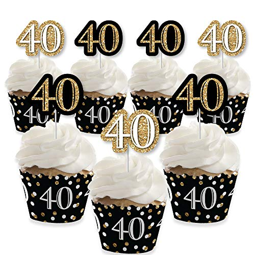 Adult 40th Birthday - Gold - Cupcake Decoration - Birthday Party Cupcake Wrappers and Treat Picks Kit - Set of 24