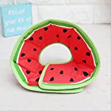 Stock Show 1Pc Pet Dog Recovery Collar, Cotton Wound Healing Protective Cone Elizabethan Collar for Puppy Cat, Red Watermelon