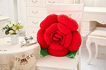 Atolo Plush Toys,roses Large Pillow Cushions,couples Leafy Flower Pillow,valentine's Day Gift (30cm, red)