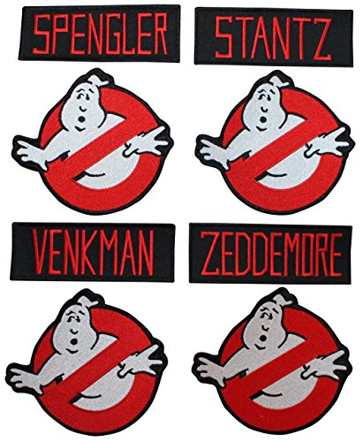Lot of 8 Ghostbusters Name Tags & No Ghost Sign Logo Applique Patches -