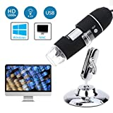 Buywell 1000x Magnification Endoscope, 8 LED USB 2.0 Digital Microscope,Mini Camera with Metal Stand, Compatible with Mac Window 7 8 10 Linux