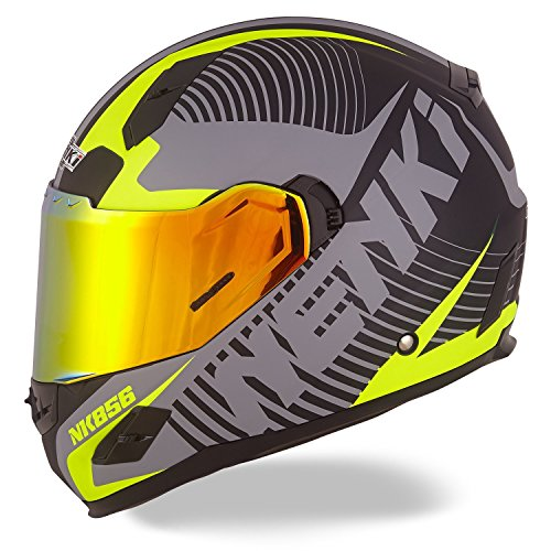 NENKI NK-856 Street Bike Full Face Motorcycle Helmets DOT Approved With Iridium Red Visor and Inner Sun Shield (L,Matt Black & Yellow) (Yellow Motorcycle Helmet)