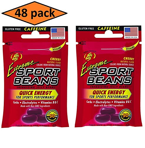 48 Pack Extreme Sport Beans, Caffeinated Jelly Beans, Cherry Flavor by Jelly Belly