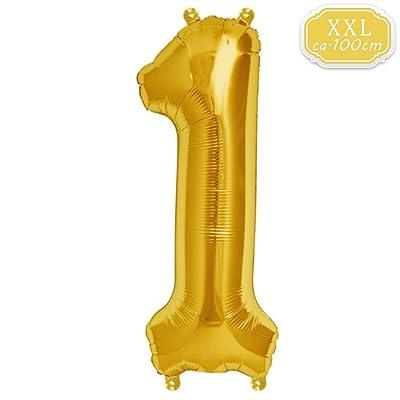 FUNXGO XXL Globos Número , Globo de Helio Gigante Party Festival Decoraciones Aniversario Aniversario Jumbo [0-9] (Dorado [ 1 ]): Juguetes y juegos
