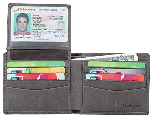 Mens Genuine Leather Bifold Wallet with 2 ID Window and RFID Blocking - Gray