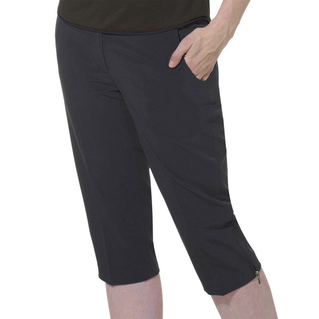 Monterey Club Ladies Stretchableピーチツイルカプリ# 2923 B07CZ78T4G Size:18|ブラック ブラック Size:18