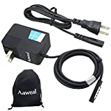 Aaweal 24W 12V 2A Charger Adapter for Microsoft Windows Surface RT Surface 2 Surface Pro 1 Pro 2 1512 1514 1536 Laptop Tablet Power Supply (plug can be removed,DC Cable 5 Ft, Extra Power Cord 3 Ft)