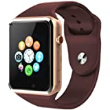 Sport Touch Screen Smartwatch Waterproof Bluetooth Smart Watch Phone with Camera Pedometer Sleep Monitor Music Player for iPhone/iOS/iPhone/Samsung/Android (Golden&Coffee)