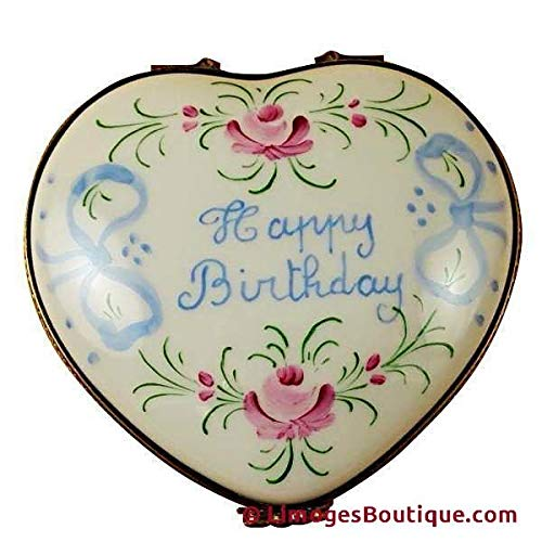 HAPPY BIRTHDAY HEART - LIMOGES PORCELAIN FIGURINE BOXES AUTHENTIC IMPORTS