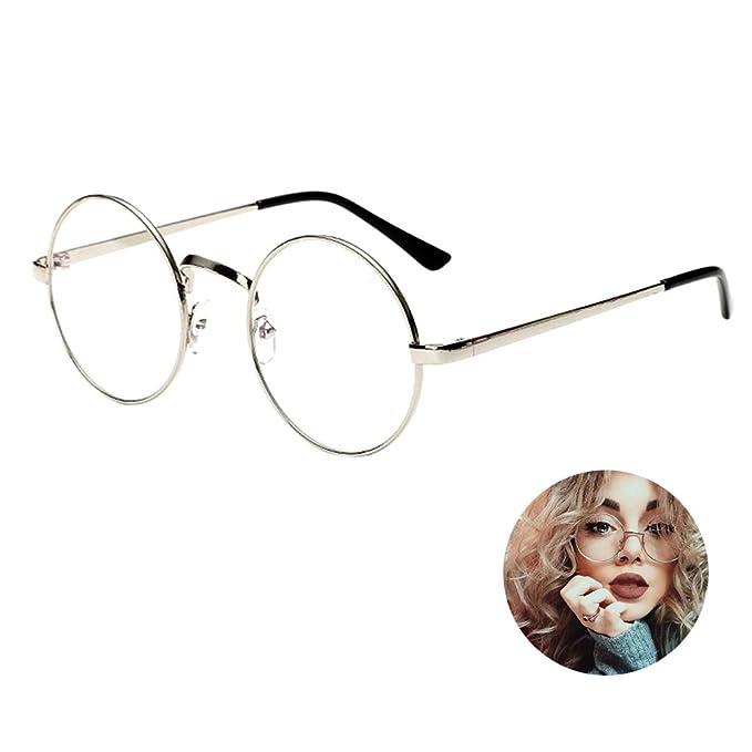 1a5b9be718 Image Unavailable. Elfishau Unisex Oversized Round Metal Frame Clear Lens  Vintage Classic Retro Geek Eye Glasses ...