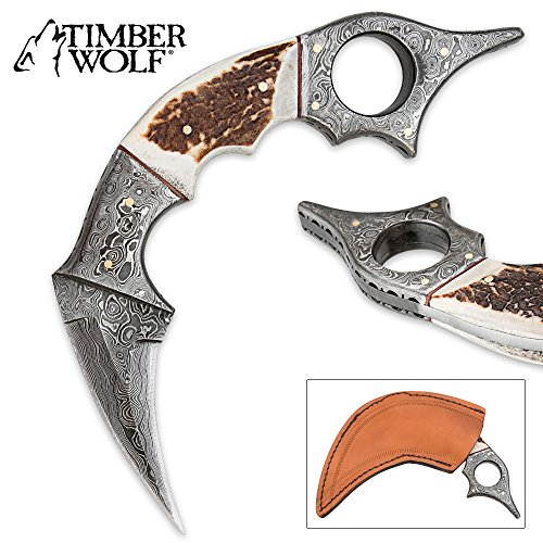 Timber Wolf Damascus Steel and Stag Horn Karambit Knife