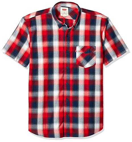 - Levi's Men's Vernon Short Sleeve Plaid Woven Shirt, Chinese Red, X Large