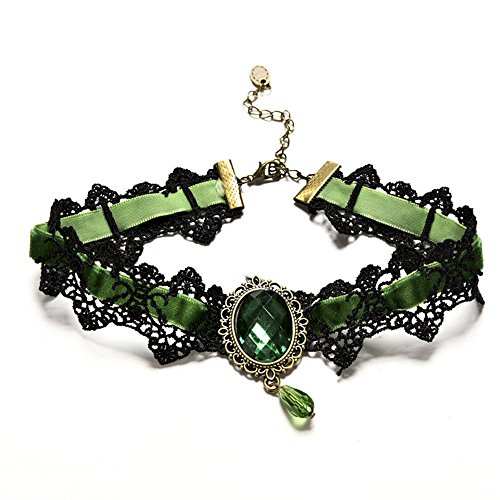 Youniker Retro Handmade Choker Necklace for Women Gothic Black Lace Necklace for Halloween Punk Costume Party Royal Court Vampire Choker Pendant Chain (Green)