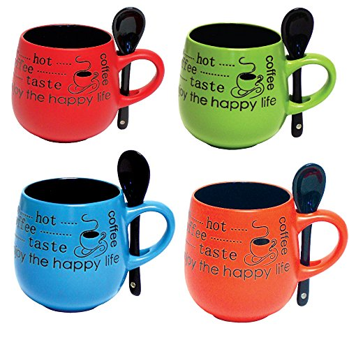 Mug Set of 4 - Round 12 Ounce Coffee Mug and Tea Cup with Matching Spoon in Handle - Ceramic Stoneware Barrel Mug (Set of 4 Assorted Colors)