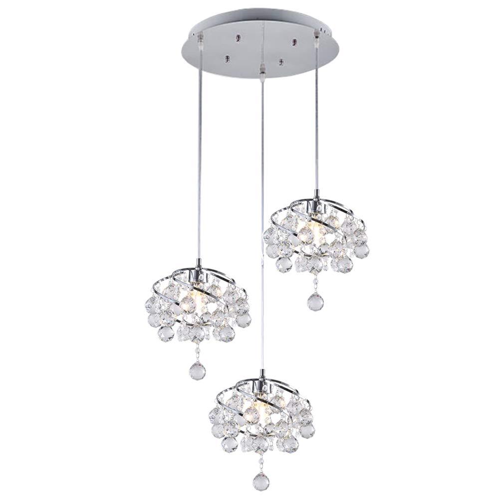 Lightess Chandelier Metal Crystal Pendant Lighting Modern Ball Drop Hanging Ceiling Light Fixture Chrome Finish