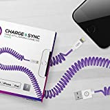 IJOY Apple Certified MFI 3 feet Coiled Lightning Cable, Purple