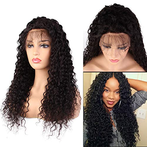 Lace Up Wig - Curly Brazilian Virgin Human Hair Wigs Deep Curly Glueless Lace Front Wigs for Black Women Pre Plucked Hairline Baby Hair Density 150%(18