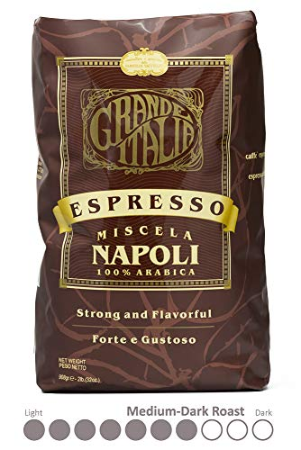 Grande Italia Whole Bean Espresso, Miscela Napoli Bean, 100% Arabica Small Batch Artisan Roasted 2lbs