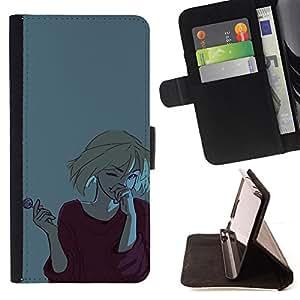 BullDog Case - FOR/LG OPTIMUS L90 / - / GIRL LOLLIPOP GIGGLING LAUGHING BLONDE ART /- Monedero de cuero de la PU Llevar cubierta de la caja con el ID Credit Card Slots Flip funda de cuer