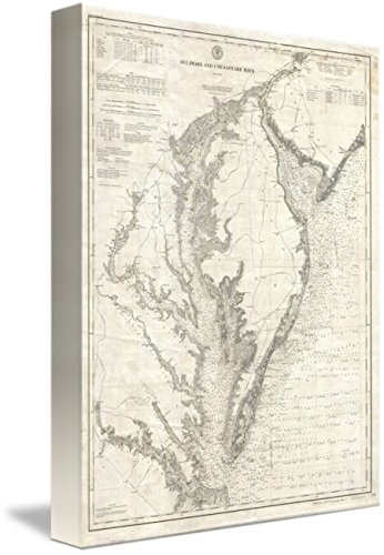 Imagekind Wall Art Print Entitled Vintage Map of The Chesapeake Bay (1893) by Alleycatshirts @Zazzle | 7 x 10 (Map Of The Tidewater Region Of Virginia)