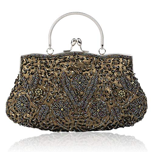 XFASY Evening Clutch Bag Beaded Sequin Flower Evening Purse Large Handbag