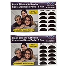 GMS Optical® 1.3mm Ultra-Thin Anti-slip Adhesive Contoured Silicone Eyeglass Nose Pads with Super Sticky Backing - 5 Pair (Black - 2 Pack)