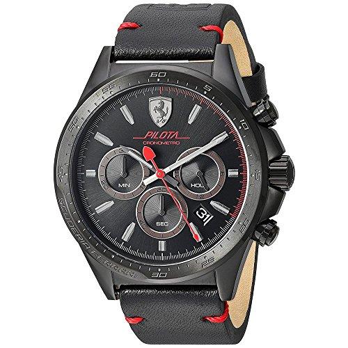 Ferrari-Mens-Pilota-Quartz-Stainless-Steel-and-Leather-Casual-Watch-ColorBlack-Model-830434