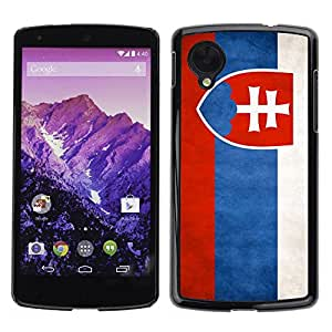 Paccase / SLIM PC / Aliminium Casa Carcasa Funda Case Cover - National Flag Nation Country Slovakia - LG Google Nexus 5 D820 D821