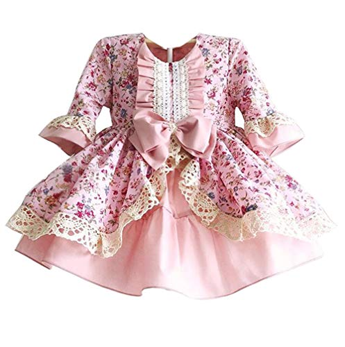 Girls Flower Print Medieval Court Dress, Pink Princess Dress Up Deluxe Satin Cosplay Costume Masquerade Use (Pink, 90 for 1T) -