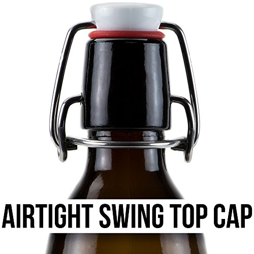 33 oz. Grolsch Glass Beer Bottles, Quart Size – Airtight Swing Top Seal Storage for Home Brewing of Alcohol, Kombucha Tea, Homemade Soda by Cocktailor (12-pack) by Cocktailor (Image #5)