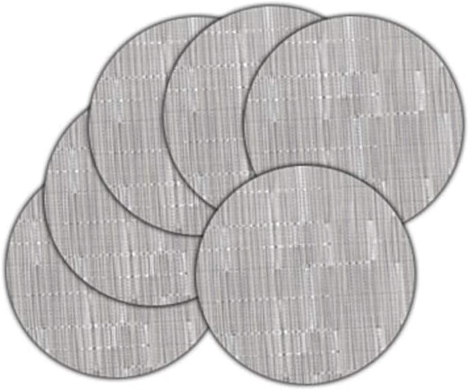 LivebyCare Set of 6 Dining Table Heat-resistant Placemats Washable Round Low Profile Dinner Mats Non-slip PVC Woven Textilene Kitchen Place Mats, Silver Gray 13.8In