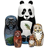 "Bits and Pieces - Nesting Endangered Species-Hand Painted Wooden Nesting Dolls - Set of 5 Dolls From 5.5"" Tall"