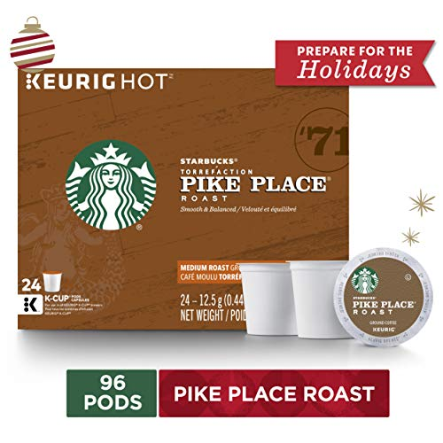 Starbucks Pike Place Roast Medium Roast Single Cup Coffee for Keurig Brewers, 4 Boxes of 24 | Great Holiday Gift for Coffee Lovers