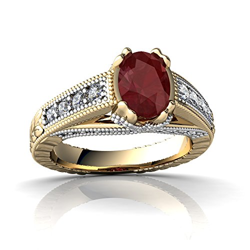 (14kt Yellow Gold Ruby and Diamond 7x5mm Oval Antique Style Ring - Size 7)