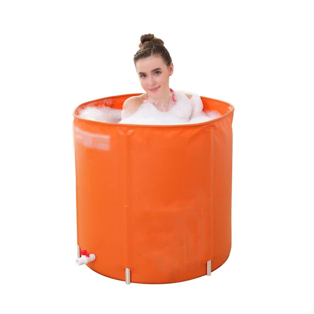 GYZ Portable Plastic Folding Bathtub, Keep Warm Adult freestanding Bathtub, Round Bathtub, Orange Inflatable hot tub