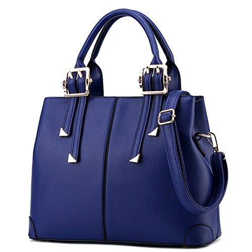 Suyi Womens Vintage PU leather Tote Satchel Handbag Shoulder Bag Cross Body Bags - Blue Purse