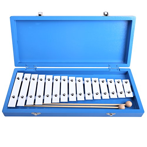 CAHAYA Glockenspiel Xylophone Educational Enlighten Rhythm Music Instrument Piano 15 Tones Aluminum with Two Wooden Mallets in Blue Box for Baby Children by CAHAYA
