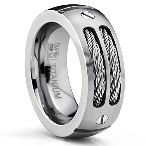 Amazon Lightning Deal 96% claimed: Metal Masters Co.® 8MM Men's Titanium Ring Wedding Band with Stainless Steel Cables and Screw Design Sizes 7 to 13