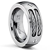 8MM Men's Titanium Ring Wedding Band with Stainless Steel Cables and Screw Design Size 13