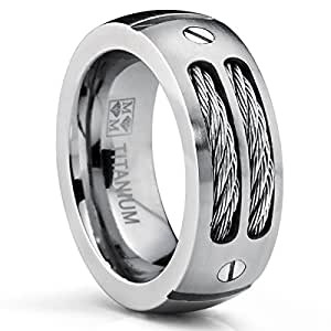8MM Men's Titanium Ring Wedding Band with Stainless Steel