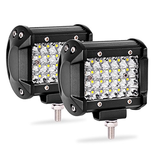 (Quad Row Led Pods 2Pcs 4'' 144W LED Light Bar Spot Beam LED Cubes for Truck Boat Motorcycle Jeep)