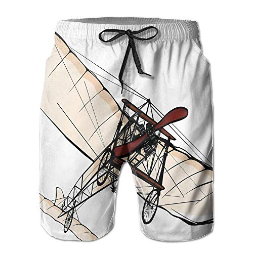 EEMNJIHH Old Fashioned Plane Engine Ancient Flight Illustration Men's Quick Dry Beach Shorts Casual Comfortable Surf Shorts -