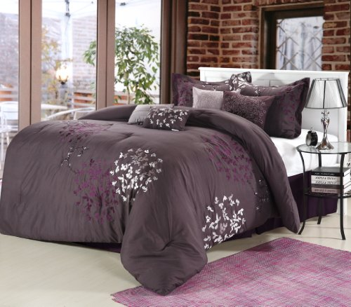 Contemporary Bedding Ensembles - Chic Home Cheila 8-Piece Comforter Set, Queen, Plum