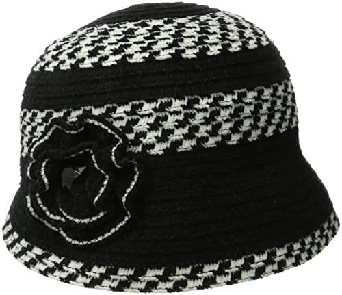 San Diego Hat Company Women's Chenille Cloche Hat with Flower and Jewls