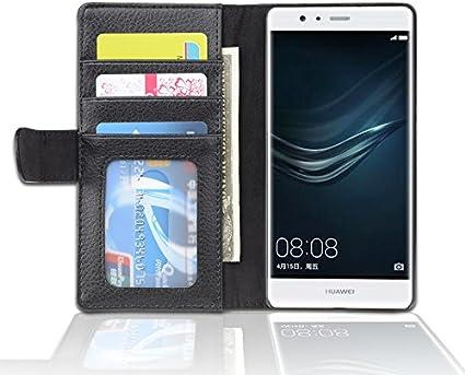 Cadorabo Custodia Libro per Huawei P9 Lite in Nero Profondo - con 3 Vani di Carte e Chiusura Magnetica - Portafoglio Cover Case Wallet Book Etui ...